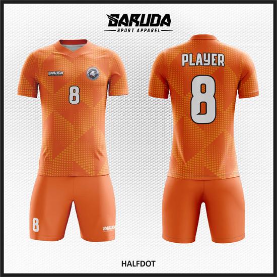 Desain Kaos Futsal Full Print Gradasi Warna Orange Modis Dan Keren
