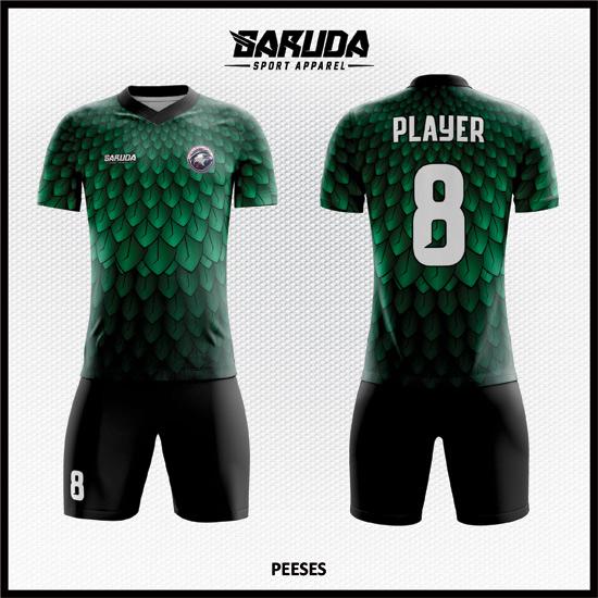 Desain Baju Futsal Printing Warna Hijau Motif Bulu Elang Yang Stylish