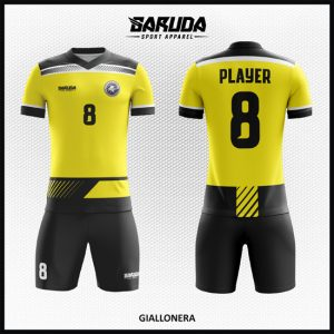 Desain Jersey Sepakbola Printing Warna Kuning Hitam Yang Elegan