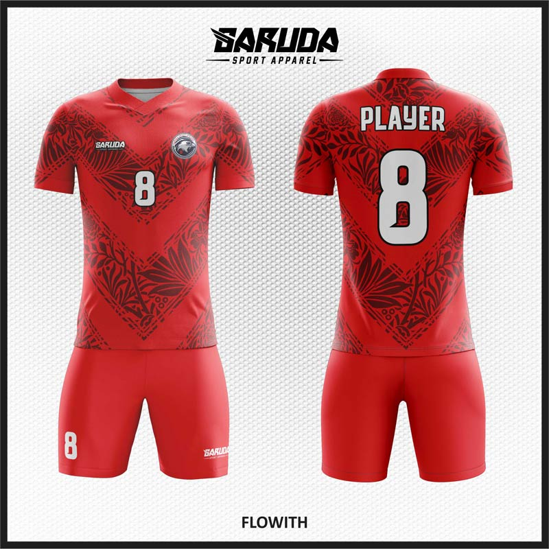 Desain Kaos Futsal Warna Merah Lambang Keberanian