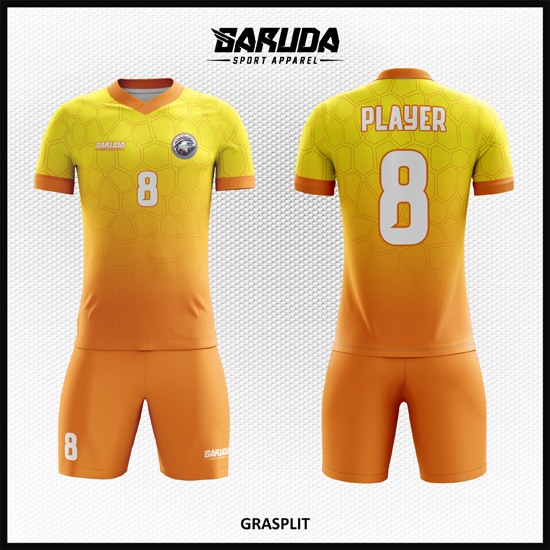 Desain Jersey Futsal Full Print Gradasi Warna Kuning Memukau