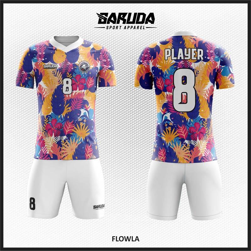 Desain Baju Futsal Motif Bunga Penuh Warna Yang Anggun