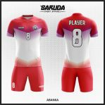Desain Kostum Futsal Warna Merah Putih Lambang Nasionalis