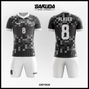 Desain Jersey Futsal Printing Gradasi Warna Abu Abu Yang Unik