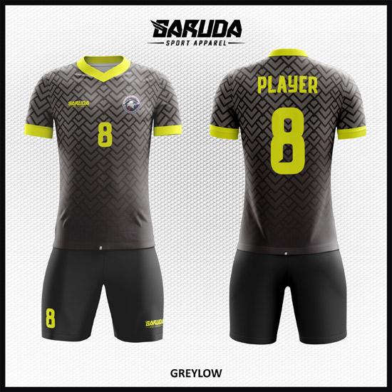 Desain Baju Sepakbola Full Printing Gradasi Warna Abu Abu Keren Banget