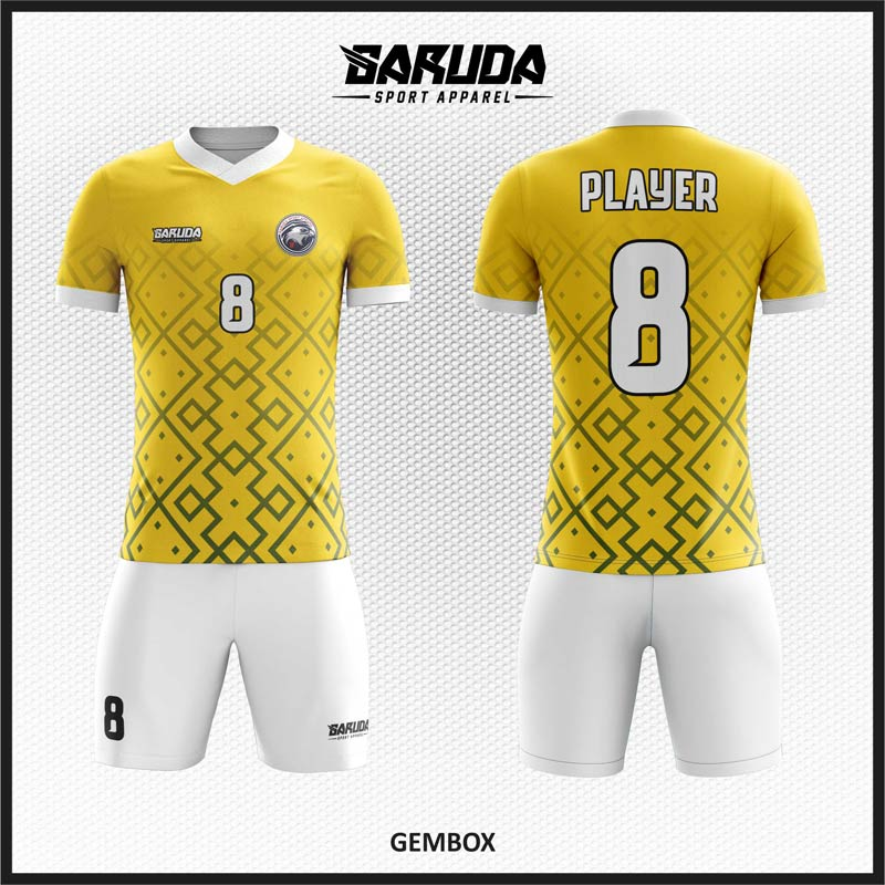 Desain Baju Futsal Full Printing Warna Kuning Yang Trendy
