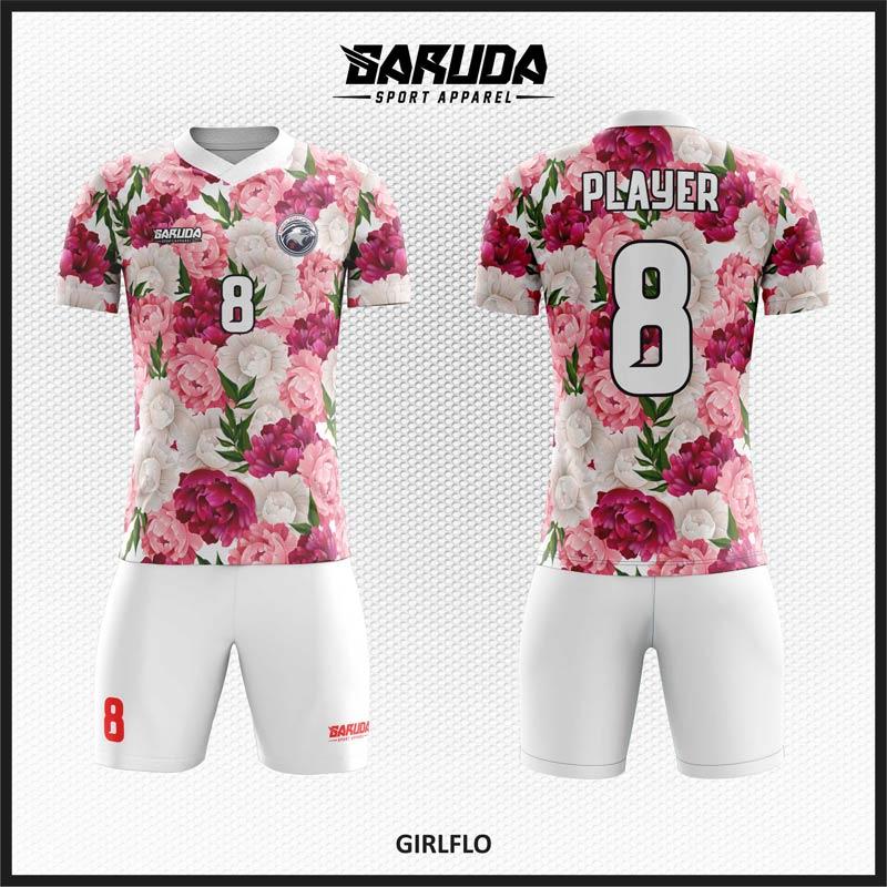 Desain Kaos Bola Full Printing Motif Bunga Yang Cantik Dan Anggun