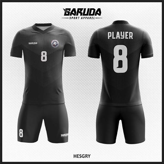 Desain Baju Bola Futsal Full Print Warna Hitam Yang Gagah Dan Menawan