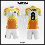 Desain Kostum Futsal Warna Kuning Putih Orange Yang Energik