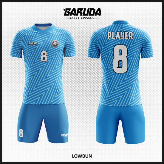 Desain Jersey Futsal Warna Biru Motif Zig Zag Yang Menawan