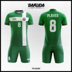 Desain Kostum Sepak Bola Printing Motif Bergelombang Gradasi Warna Hijau