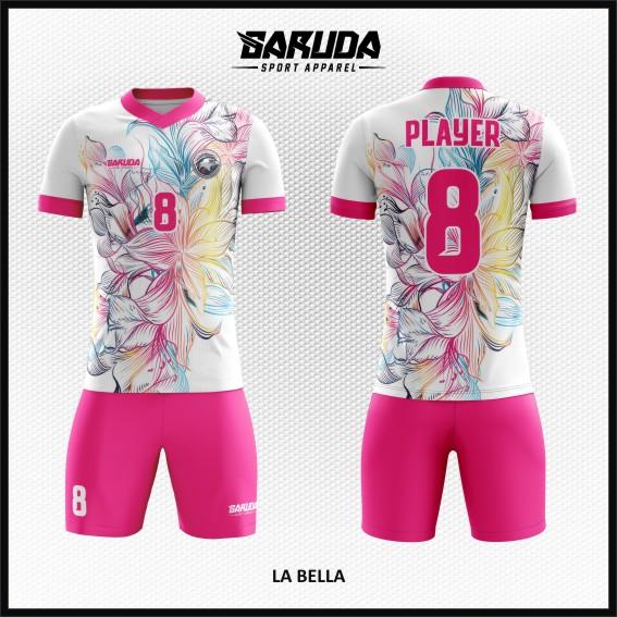 Desain Jersey Bola Futsal Warna Putih Pink Mofif Bunga Paling Cantik