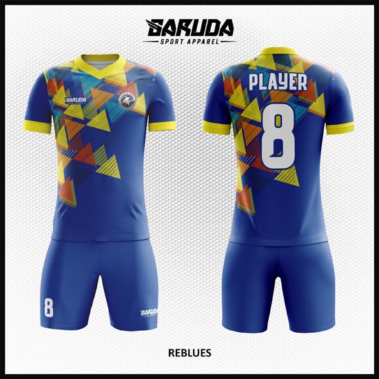 Desain Baju Futsal Full Print Warna Biru Untuk Tampil Lebih Macho