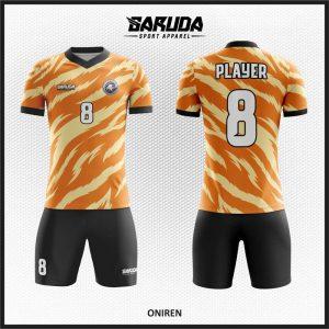 Desain Kostum Futsal Printing Motif Loreng Gradasi Warna Orange