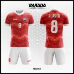 Desain Kaos Bola Futsal Printing Warna Merah Putih Unik Sekali