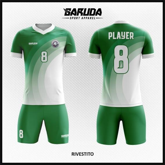 Desain Kaos Sepakbola Printing Warna Hijau Putih Yang Trendy