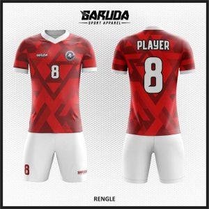 Desain Baju Futsal Printing Warna Merah Putih Paling Gagah