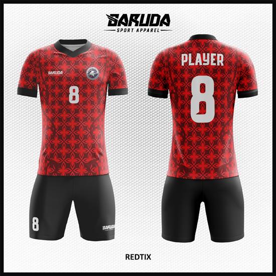 Desain Jersey Futsal Full Print Merah Hitam Motif Batik Tradisional
