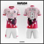 Desain Kaos Bola Futsal Warna Putih Pink Bergaya Milenial