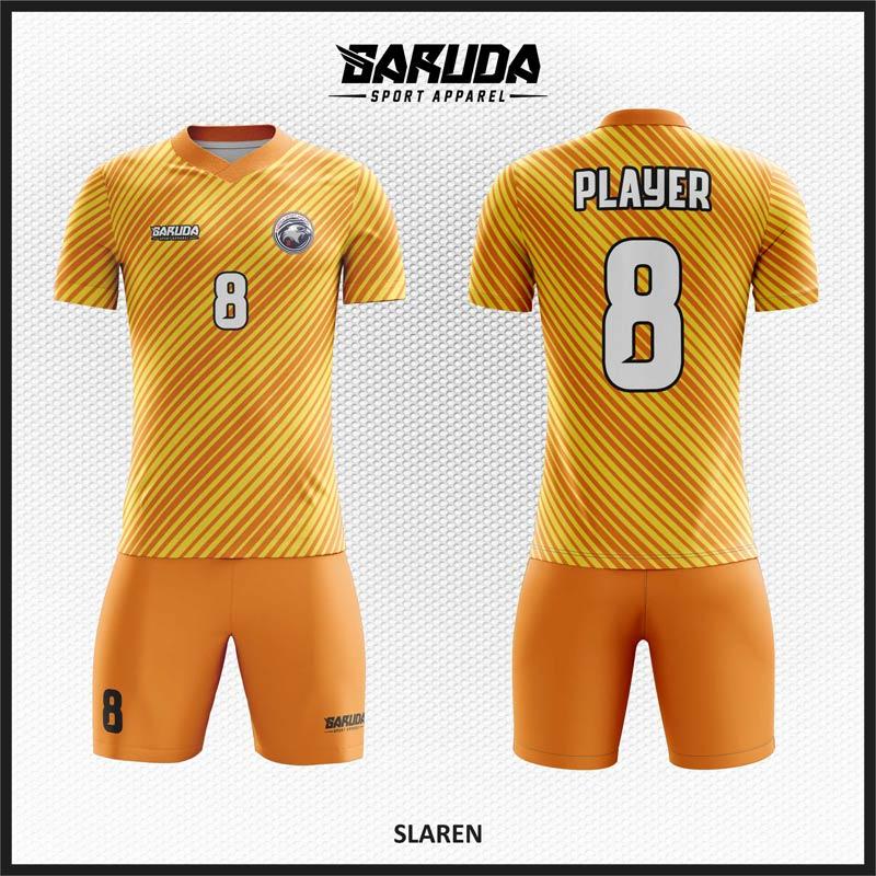 Desain Baju Futsal Printing Warna Kuning Orange Yang Serasi