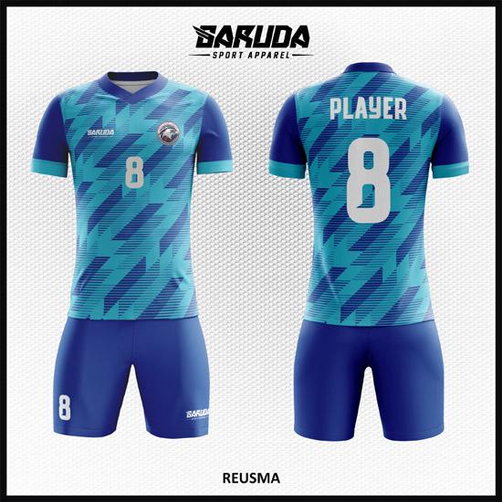 Desain Kostum Sepakbola Printing Warna Biru Paling Eksklusif