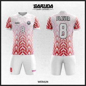 Desain Jersey Futsal Full Print Warna Merah Putih Berornamen