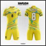 Desain Baju Futsal Printing Warna Kuning Bergelombang