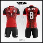 Desain Jersey Bola Futsal Warna Merah Hitam Motif Tulang