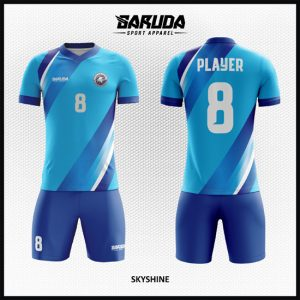 Desain Kaos Futsal Full Print Kombinasi Warna Biru