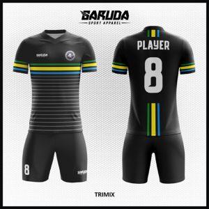 Desain Baju Futsal Hitam Strip Tiga Warna Yang Elegan