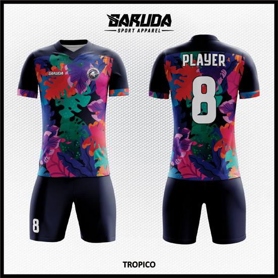 Desain Seragam Futsal Printing Warna Hitam Motif Daun Yang Unik