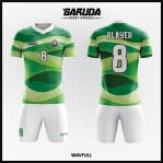 Desain Jersey Futsal Full Print Warna Hijau Motif Bergelombang