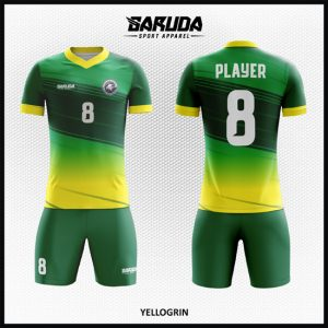 Desain Jersey Bola Futsal Printing Warna Kuning Hijau Yang Memukau