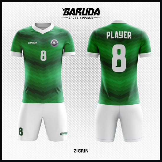 Desain Kostum Futsal Full Print Gradasi Warna Hijau Bergaya Stylish
