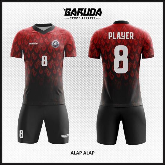 Desain Jersey Futsal Printing Warna Merah Hitam Yang Gagah
