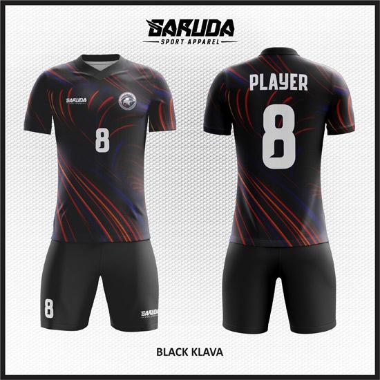 Desain Kaos Sepakbola Printing Warna Hitam Tampil Gahar