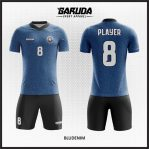 Desain Jersey Futsal Printing Warna Biru Bergaya Trendy