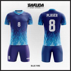 Desain Baju Sepakbola Printing Warna Biru Motif Bunga Api Yang Unik