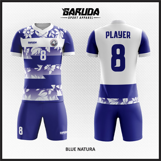 Desain Jersey Futsal Warna Biru Putih Motif Kembang-Kembang