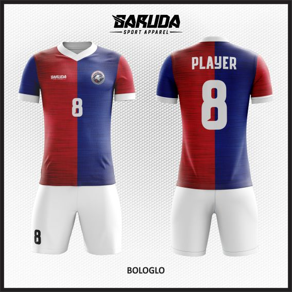 Desain Baju Futsal Printing Warna Merah Biru Yang Dinamis