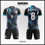 Desain Kaos Bola Futsal Warna Hitam Biru Motif Bergelombang Paling Keren
