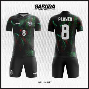 Desain Kostum Futsal Printing Warna Hitam Yang Gagah Dan Macho