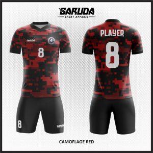 Desain Kaos Sepakbola Printing Warna Merah Hitam Motif Camo Terbaru