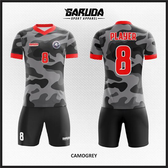 Desain Baju Bola Futsal Motif Doreng Warna Hitam Abu-Abu