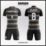 Desain Seragam Futsal Printing Warna Hitam Motif Garis Warna Warni