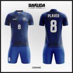 Desain Baju Futsal Full Print Warna Biru Berkarakter Kuat