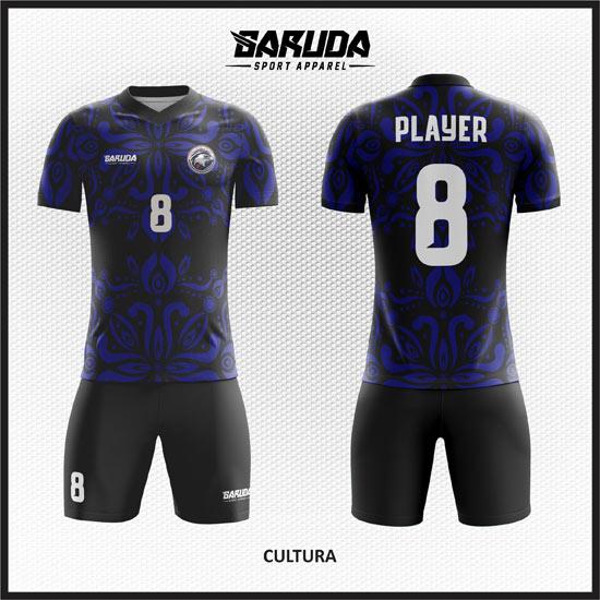 Desain Jersey Futsal Full Print Warna Biru Hitam Motif Batik Klasik