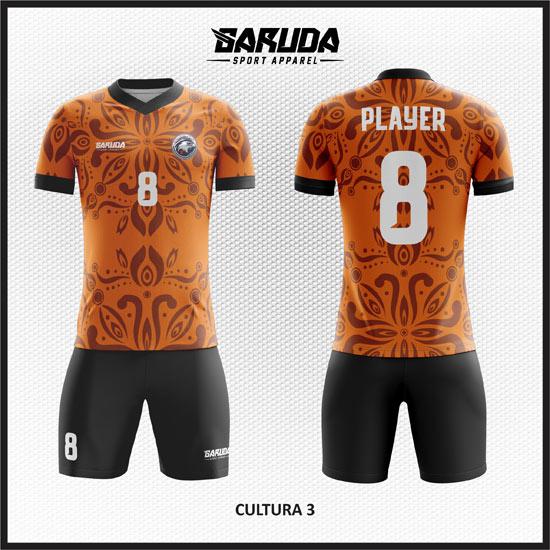 Desain Baju Bola Futsal Full Print Motif Etnic Batik Warna Coklat