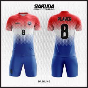 Desain Kostum Futsal Printing Warna Merah Putih Biru Yang Dinamis