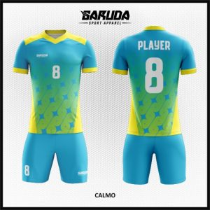Desain Baju Futsal Printing Warna Biru Kuning Bikin Kagum